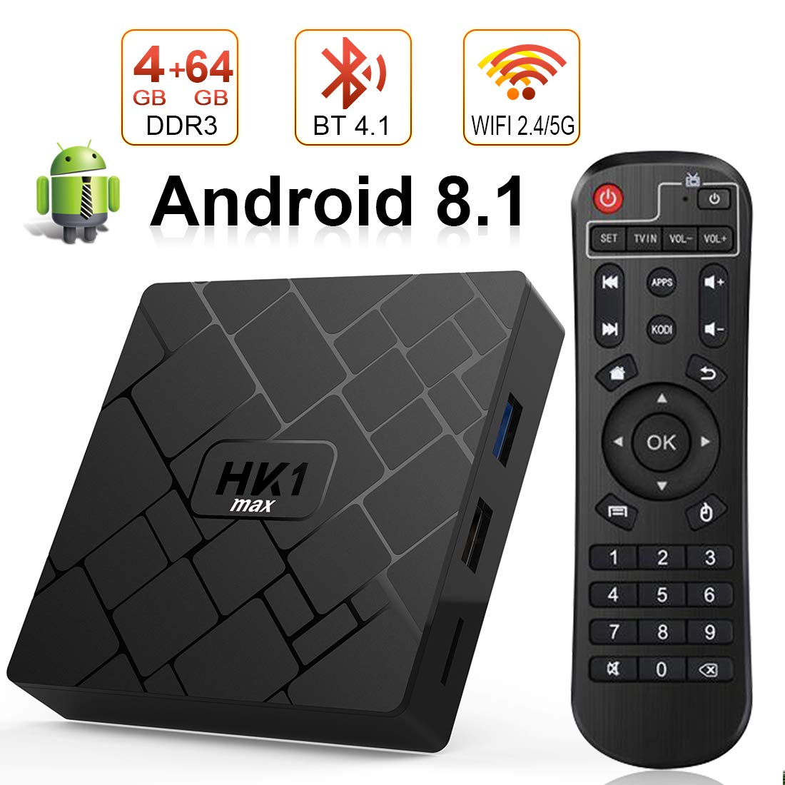 Android 8.1 TV Box with 4GB RAM 64GB ROM, Livebox HK1 max RK3328 Quad Core 64 bit Built in BT 4.1 Dual-WiFi 2.4GHz/5GHz,Supporting 4K (60Hz) Full HD/3D/H.265,USB 3.0[2019 Version]