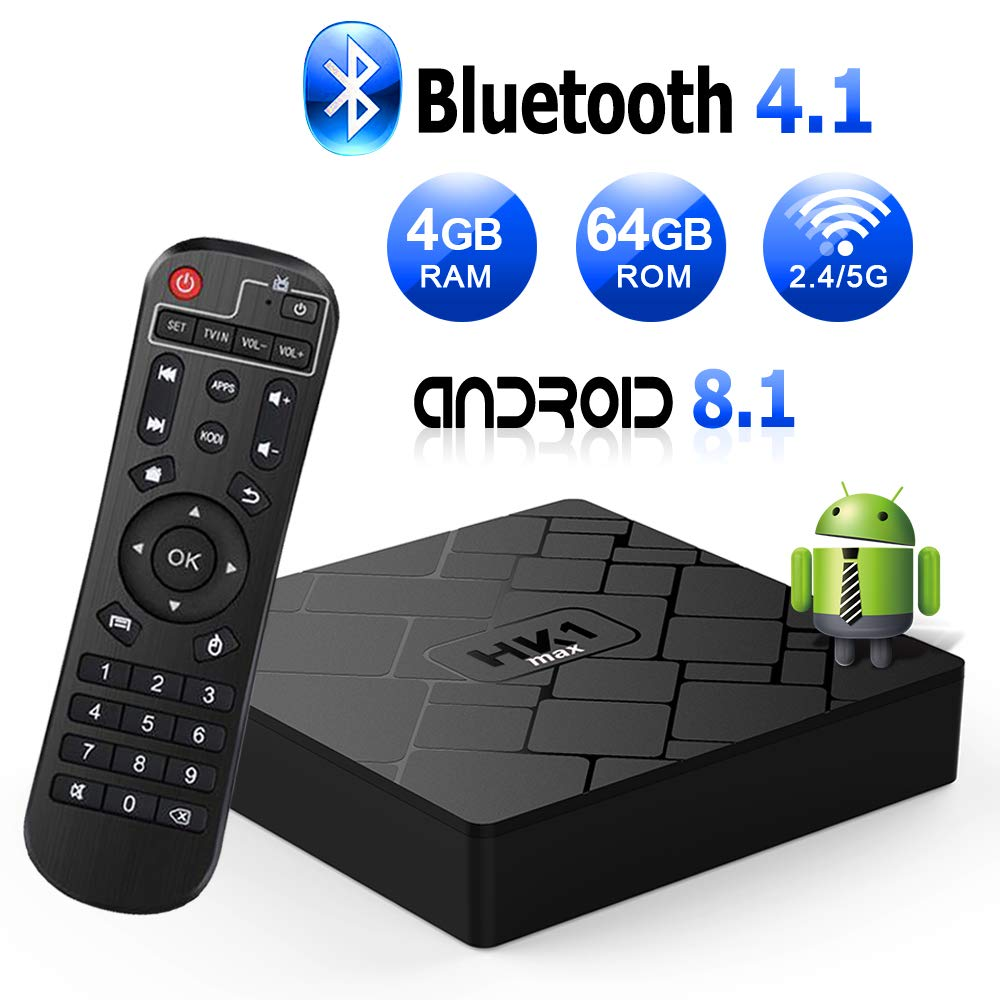 Android 8.1 TV Box with 4GB RAM 64GB ROM RK3328 Bluetooth 4.1 Quad-Core Cortex-A53 64 Bits, Support Dual-WiFi 2.4GHz/5GHz, 4K 3D Ultra HD HDMI H.265,USB 3.0 Smart TV Box